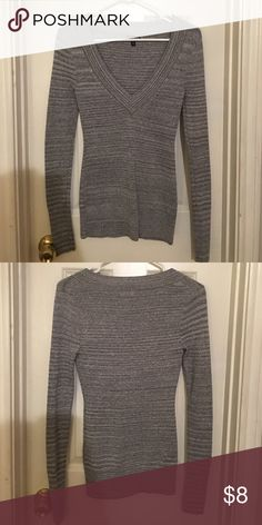 Express Long-Sleeve Thin-Knit Top Silver and Sparkly, flattering, worn maybe twice. Express Sweaters V-Necks