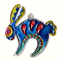 Blue rabbit art   60D Rabbit Tin Ornament from Mexico