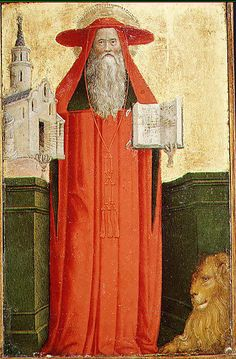 Saint Jerome, fifteenth century, Workshop of Antonio Vivarini; Jerome is portrayed with his symbolic attributes, including a cardinal's robes, a model church, a book and a lion. (Metropolitan Museum of Art)