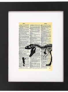 "Amazon.com : Dictionary Art Print - Baby With Pet T-Rex - Printed on Recycled Vintage Dictionary Paper - 8.5""x11"" - Mixed Media Poster on Vintage Dictionary Page : Everything Else"