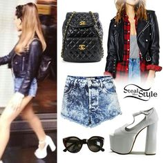 I think this outfit is amazing I love how she paired the denim shorts with the leather jacket!!