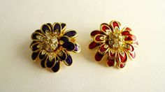 CHOOSE YOUR COLOR Red or Navy with Rhinestones Flower by RussetRow