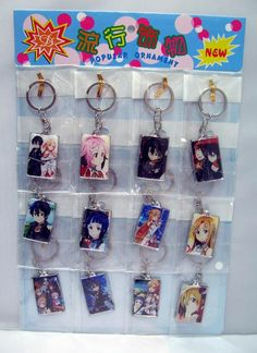Anime Sword Art Online SAO Kirito Yuki Asuna cristal Trousseau Pendentif Porte-clés