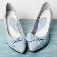 Pale Blue Vintage Bow Heels
