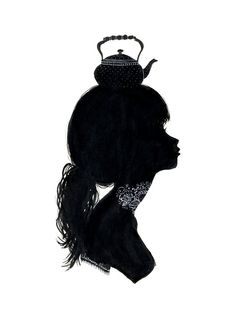 Teapots. on #bust #head #silhouette image. Black and white. Great inspiration for silhouette cushions, and would love to see this image on just about anything!