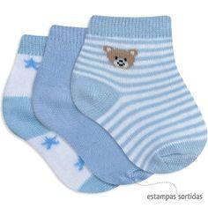 Meia para Bebê Menino Kit com 3 Pares Sortidos Azul - Everly :: 764 Kids | Roupa bebê e infantil