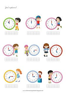 Ania mama Agnieszki: Zegar - godziny, minuty - zadania Daily English Vocabulary, School Frame, Math 2, Telling Time, Math For Kids, Math Classroom, Homeschool, Clock, Teaching