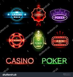 Neon Poker And Casino Emblems Stock Vector Illustration 360084164 : Shutterstock