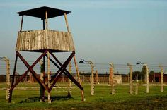 Auschwitz-Birkenau - Photograph of guard tower in Birkenau camp