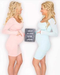 Sexy Maternity Bodycon Dress with Long Sleeves - Sexy Mama Maternity Friend Pregnancy Photos, Pregnancy Looks, Pregnancy Outfits, Pregnancy Pics, Third Pregnancy, Friends Pregnant Together, Pregnant Best Friends, Maternity Bodycon Dresses, Maternity Fashion