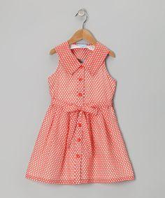 Orange Polka Dot Silk-Blend Dress - Girls