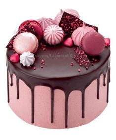 Order Raspberry and Chocolate drop cake with meringues, macaroons and chocolate shards.For Order Call or WhatsApp Peggy Porschen Cakes, Drop Cake, Cake Recipes, Dessert Recipes, Bolo Cake, Occasion Cakes, Fancy Cakes, Pink Cakes, Pretty Cakes