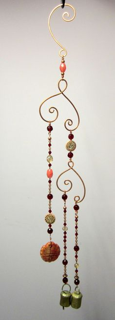 Beaded bohemian decor wind chimes, made by Lori from GatheringStars.etsy.com