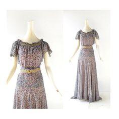 1930s floral print silk chiffon gown