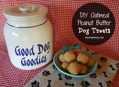 An easy three-ingredient recipe for homemade oatmeal peanut butter dog treats!