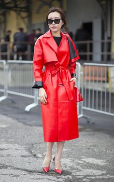 Kapow! Why wear a beige mac when you can pack a punch in fire engine red?