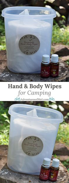 When you're camping, sometimes a shower just isn't feasible. Homemade hand and body wipes are great for camping and spending time in the great outdoors. How to make your own hand and body wipes with a super easy recipe that uses water, body wash, and esse