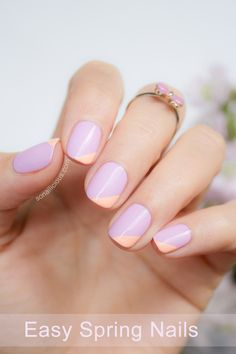 Sub in any color (here, lilac and peach are oh-so-sweet) for a geometric take on plain polish.