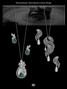 Silver, diamond and emerald pendant sets. Diamond Earrings Indian, Diamond Necklace Set, Diamond Pendant, Emerald Pendant, Jewellery Sketches, Jewelry Drawing, High Jewelry, Jewelry Sets, Men's Jewellery