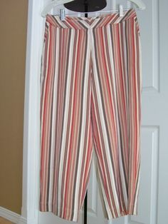 TOMMY BAHAMA Raspberry Red Small 6 Stripe Silk Capri Crop Pants
