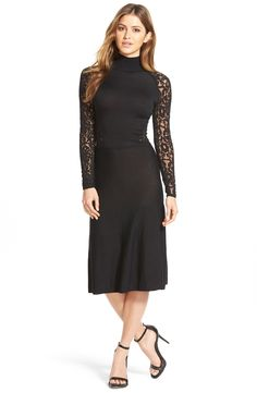 Vince Camuto Lace Detail Sweater Dress (Regular & Petite)