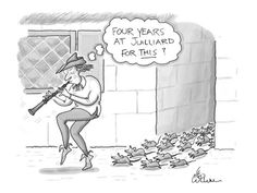 Premium Giclee Print: Pied Piper thinks to himself, 'Four years at Julliard for This?' - New Yorker Cartoon by Leo Cullum : Sound Of Music, Music Is Life, My Music, Good Music, Orchestra Humor, Music Jokes, Funny Music, Band Jokes, New Yorker Cartoons