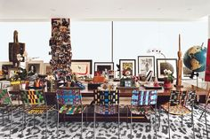The office/living area in Diane von Furstenberg's Manhattan penthouse.  Photo: François Halard
