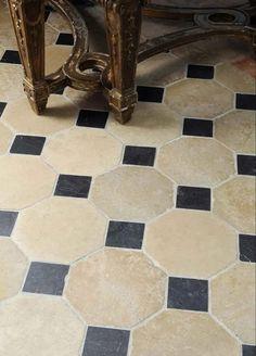 Our Entryway & Staircase Plan - roomfortuesday.com Black Slate Floor, French Apartment, Parisian Apartment, Tudor Kitchen, Parquet Flooring, Floors, Door Casing, Entry Way Design, Antique Tiles