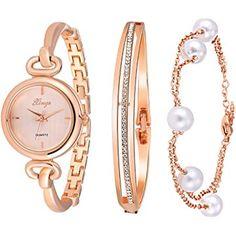 Xinge 590 Women's Round Case Rose Gold Bangle Wrist Watch and Bracelet Sets
