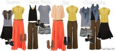 Travel outfits with 8 pieces of clothing for Australia, Bali, Thailand for a 3 week RTW adventure. Travel Wardrobe, Capsule Wardrobe, Travel Outfits, Wardrobe Ideas, Piece Of Clothing, Clothing Items, Fashion Beauty, Girl Fashion, Fashion Tips