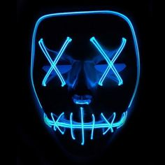 Tulas Light Up Purge Mask Stitched El Wire LED Halloween Rave Cosplay Props Supplies Green