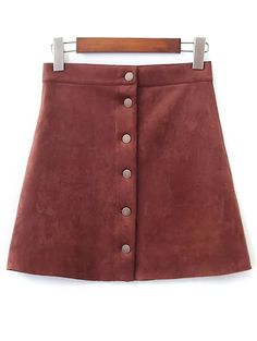 Single-Breasted Faux Suede Skirt - BROWN S