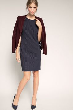 A new autumn dress for the classroom | Grey blue shift dress in stretch | Esprit