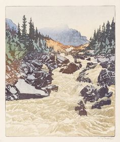 WALTER J. PHILLIPS  Above Lake Louise.   Color woodcut,