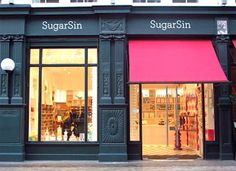 Sugar Sin Store Exterior dark grey paintwork with hot pink awning. Bakery Store, Cafe Shop, Shop Fronts, Shop Around, Retail Space, Store Displays, Restaurant Design, Restaurant Signage, Commercial Design