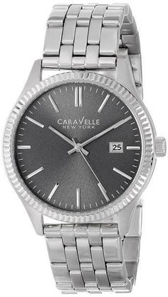 NEW CARVELLE NEW YORK MEN'S STAINLESS STEEL WATCH STYLE # 43B131 MSRP $75.00 #CARAVELLE #Dress