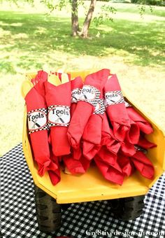 """Monster Truck Party Tools wrapper for utensil. Consider just labeling the jar with the silverwear as """"tools"""" Cars Birthday Parties, Birthday Fun, Birthday Ideas, Lego Parties, Third Birthday, Birthday Cake, Blaze And The Monster Machines Party, Monster Truck Birthday, Lego Lego"""
