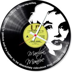 Beautiful piece of art combined with vintage feel of record. Marilyn Monroe wall clock. Perfect clock for any occasion