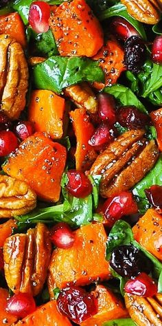 Butternut Squash Spi Butternut Squash Spinach Salad with Pecans. Butternut Squash Spi Butternut Squash Spinach Salad with Pecans Cranberries Pomegranate with Poppy Seed Honey-Lime Dressing. Vegetable Recipes, Vegetarian Recipes, Cooking Recipes, Healthy Recipes, Healthy Thanksgiving Recipes, Dishes Recipes, Bread Recipes, Cooking Tips, Keto Recipes