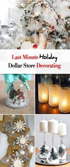 Last Minute Holiday Dollar Store Decorating • Great projects and ideas for Christmas straight from the dollar store, including the most gorgeous tree we've ever seen!
