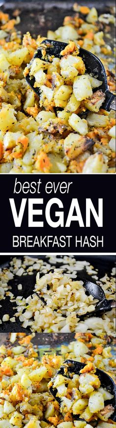 Simple vegan breakfast hash recipe made with slow roasted sweet potatoes and russet potatoes. Mix with caramelized garlic and onion for an easy and flavorful vegan breakfast idea! Serve with scrambled tofu or in a vegan breakfast burrito.