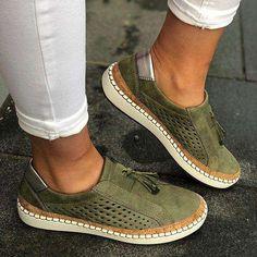 Slip On Sneakers, Casual Sneakers, Green Sneakers, Casual Loafers, Blue Loafers, Shoes Sneakers, Red Flats, Sneaker Women, Mocassins Cuir