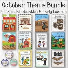 October Theme Bundle is a bundle of 11 products (199 pages of products covers and instructions) that are common October themes in the classroom. Great for early learners and special education.