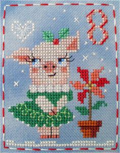 Hello, Pearly Pig! #8 of the Brooke's Books Advent Animals Cross Stitch Freebies Collection by Brooke Nolan. You can download the free charts from http://www.brookesbooks.com/CrossStitchFreebies2.html
