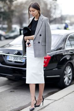 Très Chic! The Best Street Style at Paris Fashion Week: A lesson in modern — and very cool — ladylike dressing.