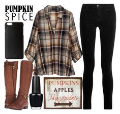 """""""out for coffee."""" by j-n-a ❤ liked on Polyvore featuring Bobeau, OPI, Naturalizer, J Brand, WALL, Knomo, coffee, pss and pumpkinspice"""