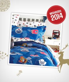Cheer on your favourite NHL team from your bed when you have this sheet set Canada Shopping, Percale Sheets, Online Furniture, Sheet Sets, Nhl, Mattress, Comforters, Cheer, Wonderland