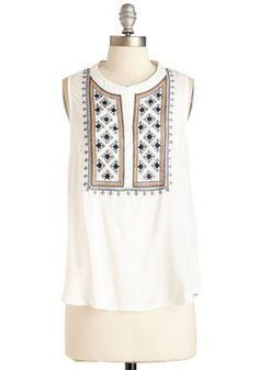 Bonne With the Wind Top. You'll feel one with the balmy breeze in this white top. #white #modcloth