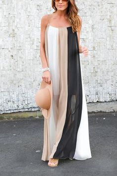 Work this seriously standout maxi dress this season. It is adorned with sleeveless and stripe pattern. We love it with sandals.