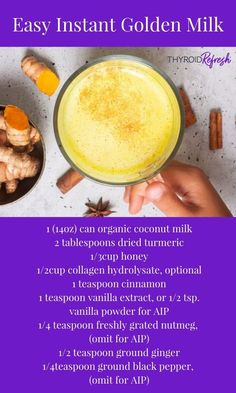 This rich and delicious Golden Milk mixture is easy to prepare, and makes whipping up a cup easier than ever. No pot scrubbing required. Milk Recipes, Baby Food Recipes, Thyroid Health, Thyroid Diet, Golden Milk Benefits, Golden Milk Tea, Organic Coconut Milk, Turmeric Milk, Milk Alternatives